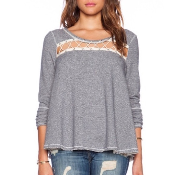 Free People Lacey Love Top Striped CrissCross M